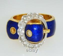 Vintage 18k Yellow Gold Cobalt Blue Enamel Diamond Belt Buckle Ring Taille 5