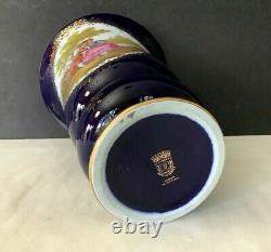 Vintage 70s Véritable Limoges Fragonard France Cobalt Bleu/or 9 Vase Tall