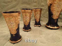 Vintage Bohème Tchèque Cobalt Blue Glass Gold Raised Émail Water Set Beautiful