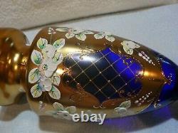 Vintage Bohème Tchèque Or Cobalt Vase En Verre Floral Émail 24k Or -menthe