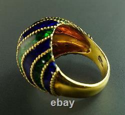 Vintage Cobalt Blue Green Émail 18k Yellow Gold Domed 1960 Vintage Retro Ring 6