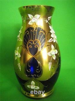 Vintage Egermann Bohemian Czech Cobalt Gilded Vase