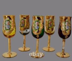 Vintage Murano Gold Cobalt Verre Venetian Liquour Set 10 Lunettes