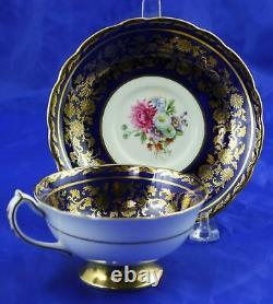 Vintage Paragon Cobalt Blue & Gold Gilt Floral Spray Cup & Saucer A1250