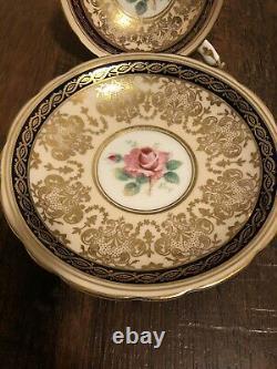 Vintage Paragon Cobalt Marine Bleu Or Gilt Cabbage Rose Teacup And Saucer