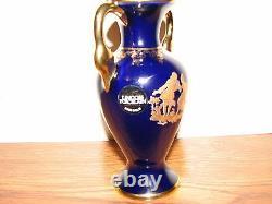 Vintage Rare Limoges La Reine Porcelaine France Cobalt Bleu 22kt Or 5.5 Vase#9