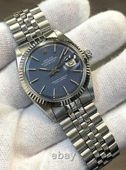 Vintage Rolex Datejust 36mm 1601 18k Blanche D'or/acier Cobalt Blue Dial Avec Papier