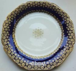 Vrare Set/10 1876 Haviland Dépose Cobalt & Gold Decorated 9 1/2 Assiettes À Dîner