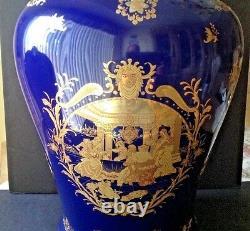 Vtg Fine Porcelaine 25 Tall Lidded Urn Vase Victorian Couple Cobalt Blue & Gold