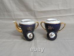 Vtg Porcelain Cobalt Blue & Gold Tea Set 6 Tasses & Saucers, Creamer & Sugar Bowl