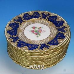 Wedgwood Cobalt Blue Gold Fleurs Incrustées Artiste Signé 12 Plaques D'armoire