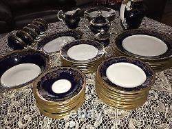 Weimar Katharina Cobalt Blue Gold (20003) Complète Dîner Set! (12people). Magnifique