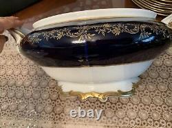 Weimar Katharina Cobalt Blue & Gold Soup Tureen Avec Couvercle. Excellent État