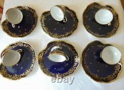 Weimar Katherina Pattern 6 Tasses & Cooke Plate Set Cobalt/gold. Difficile À Trouver. Nouveau