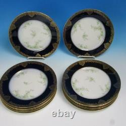 Wm Guerin & Co Limoges France Gold Cobalt Blue 12 Assiettes 93/4 Pouces