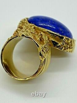 Yves Saint Laurent Ysl Cobalt Blue Fleck Or Arty Chunky Huge Cabochon Ring 6